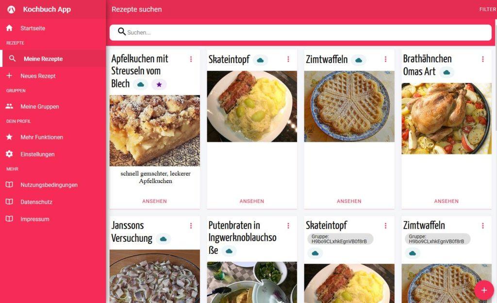Das neue Aussehen der Kochbuch App