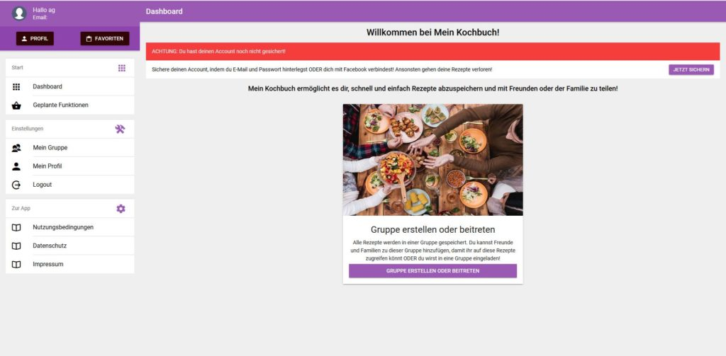 Die erste Version im Januar 2018 der Mein Kochbuch App