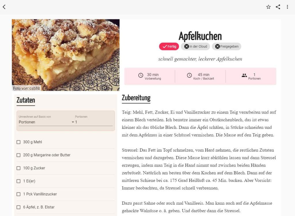 Screenshot eines Rezepts in der neuen Mein Kochbuch App